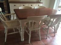 Country pine cream painted dining table plus 6 chairs