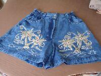 Dark Cotton Denim Sparkly Shorts