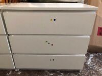 WHITE SOLID WOODEN CHEST DRAWERS SET OF 2 used can delivery free local