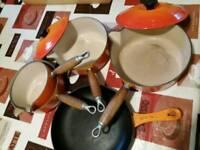 Le Creuset Pots and Pan set Vintage Orange Halloween