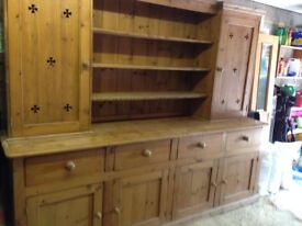 Very large pine dresser. Comes in two parts