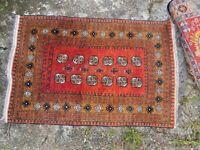 Antique vintage North African handmade beautiful wool rug in orange and brown