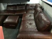 Quality as new brown leather corner sofa
