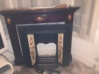 REDUCED ON 26.11 - Cast Iron Victorian Fireplace with Tiles & Wooden Mantle Piece - Pick-up E17 only
