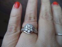 H Samuel 9ct White Gold Bridal Set with 0.75 carat Diamonds size N1/2