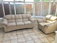 Cream leather sofa 3seater/1seat