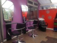 2 x Hairdressing styling units and gas lift chairs plus adjustable backwash