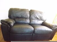 2 Seater black leather recliner sofa, excellent condition comes apart for transport £75
