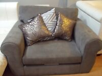 1 GREY SUEDE LOVE SEAT / SOFA