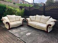 3 & 2 Seater Settees Sofas. CAN DELIVER. Cream Leather.