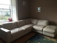 Cream leather sofa for sale, has some wear and tear, very comfortable. Looking for buyer to collect.