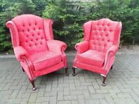 King & Queen Deep-Buttoned Wingback Chairs (Professionally Re-Covered)