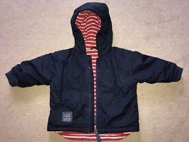 Jojo Maman Bebe 12-18 months reversible waterproof fleece lined rain jacket
