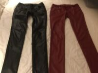 2 x leather look trousers