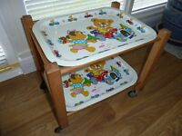 VINTAGE CHAD VALLEY CHILD'S TEA TROLLEY WITH BOX.