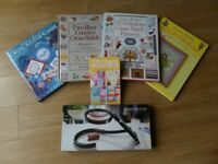 Selection of Cross stitch books and craft magnifying glass