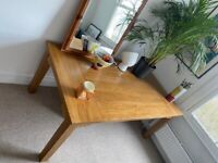 Oak wooden dinner dining table with 4 chairs