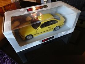 1 , 18 scale ut models e36 m3 2 door car dakar yellow