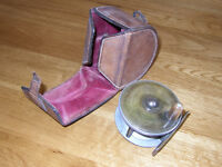 Antique Fishing Reel in Leather Case.