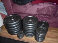 135kg Cast Iron Barbell & Dumbbell Weights Set with Belt (ez, bench, press, squat, rack)