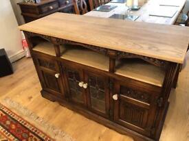 Solid oak tv unit & matching sideboard
