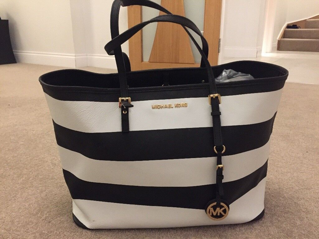 63f2a8477a4043 Michael Kors Black & White Striped Bag | in Chislehurst, London ...