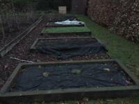 Railway sleepers borders for garden