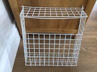 White wire letterbox basket