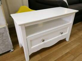 Pure white romantic tv unit with drawer