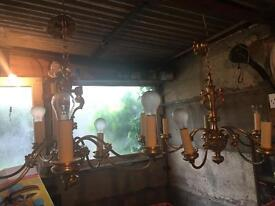Two matching Golden chandeliers