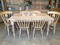 6 seater kitchen dining table rustic farmhouse solid pine table and 6 chairs