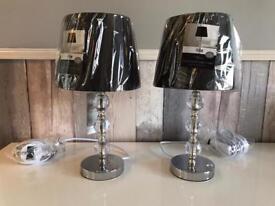 2 BRAND NEW BLACK HARLEQUIN TABLE LAMPS