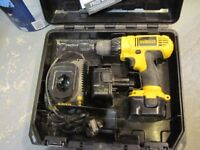Dewalt 12V battery drill, tough case with charger & x2 batteries fully working model 727 V/good con