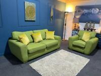 Green fabric suite 3 seater sofa and chair