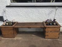 Solid wood planter bench