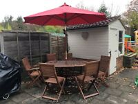 Outdoor table and 6 chair set with parasol and base