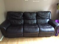 Brown leather lazy-boy sofa