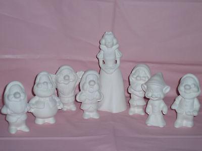 Ceramic Bisque Small Snow White and Seven Dwarfs
