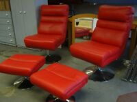 Pair of Red Faux Leather Swivel Chairs with Matching Footstools