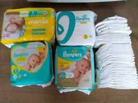Approximately 135x nappies size 1