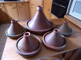 5 x Genuine Tajine Pots from Morocco - 1 large, 4 small, with covers, unused