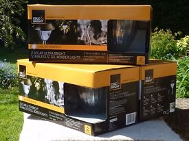 COLE & BRIGHT ULTRA BRIGHT STAINLESS STEEL BORDER LIGHTS - 3 boxes of 2 lights (BNIB)