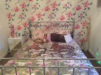 Silver chrome king size bed frame