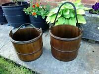 Vintage wooden buckets