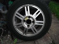 FORD FIESTA 14 INCH ZETEC,7 TWIN BLADED ALLOY CW INFLATED TYRE ,DENT ON BK OF WHEEL,INFLATED SPARE