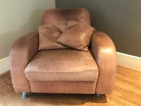Distressed Brown Leather Retro Armchair