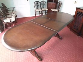 Dark wood dining suite 6 chairs