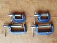 FOUR SMALL GOOD QUALITY STEEL G CLAMPS HOBBIES MODEL MAKING WOODWORK HAND TOOLS G/C