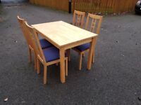 Ikea Solid Wood Table & 4 Chairs Blue Seats FREE DELIVERY 352
