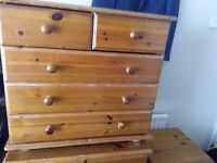 2 solid oak chest of draws and 2 bedside cabinets, a few marks but all solid.